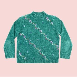 Alfred Dunner teal mock neck knit sweater